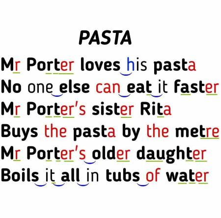 Pasta Pron Rhyme - hancockmcdonald.com/materials/pasta-pron-rhyme