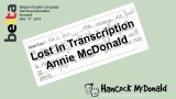 Lost in Transcription - hancockmcdonald.com/node/603/edit